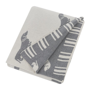 Knitted Dachshund Throw - Grey