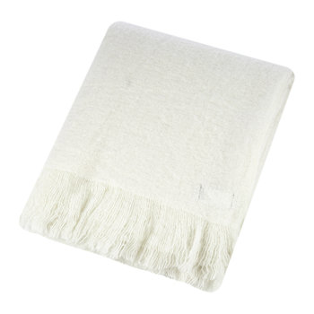 Mohair Feel Throw - Ivory