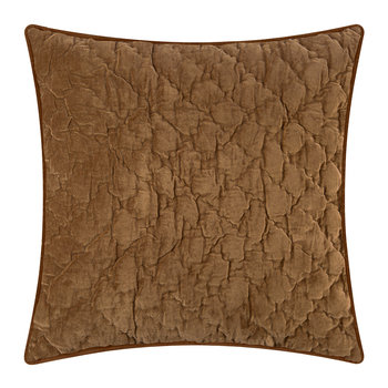 Velvet Quilted Pillow Cover - Caramel - 50x50cm