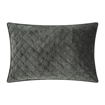 Velvet Quilted Pillow Cover - Unblack - 40x60cm