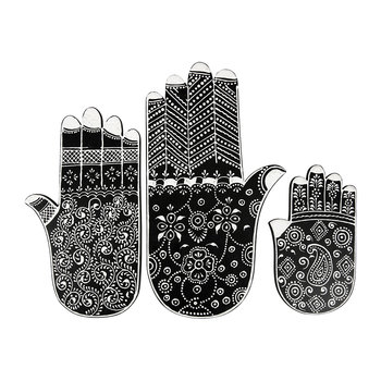 Fatima Hand Ornaments - Set of 3 - Black/White