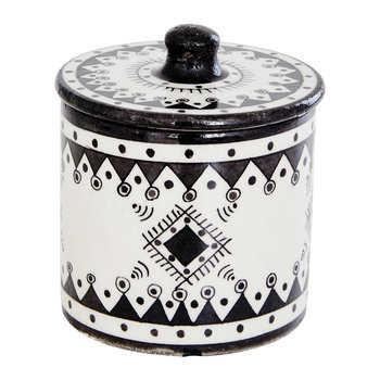 Pavillion Hand Painted Jar - Jaipur Porcelain - Black/White