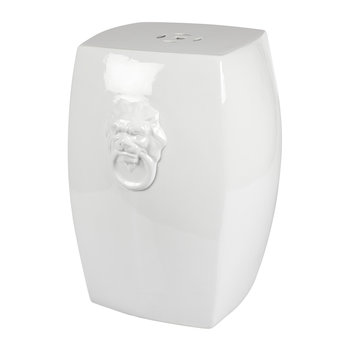 Lion Ceramic Stool - White