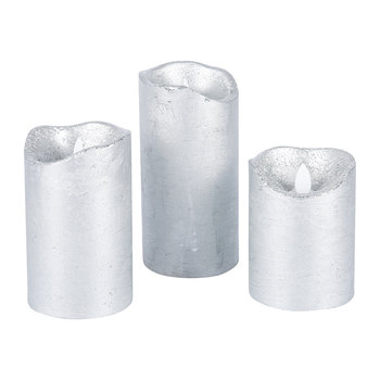 Sara Flameless Candle - Set of 3 - Silver