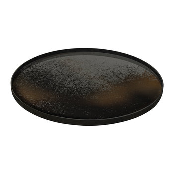 Heavy Aged Bronze Mirror Tray - Round
