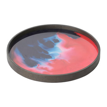 Midnight Raspberry Organic Glass Tray - Round - 30cm