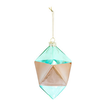 Glass Geometric Tree Decoration - Blue/Metallic Bronze