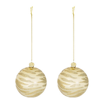 Zebra Print Glass Bauble - Gold