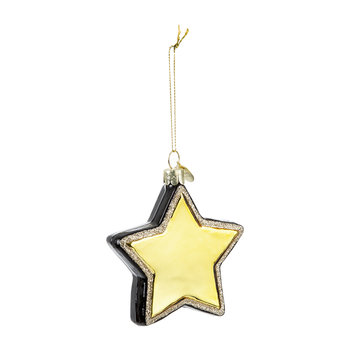Glass Star Tree Decoration - Black/Gold
