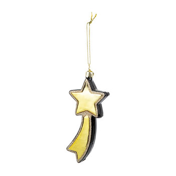 Glass Falling Star Tree Decoration - Black/Gold