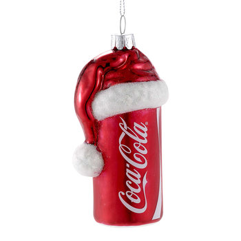 Coca-Cola Can With Santa Hat Glass Tree Decoration
