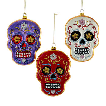 Day Of The Dead Skull Glass Tree Decorations - Set of 3
