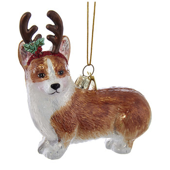 Glass Pembroke Welsh Corgi Tree Decoration