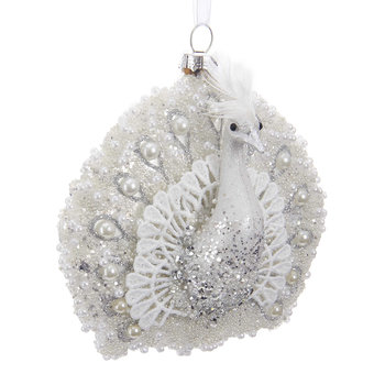 Glass Peacock Tree Decoration - White