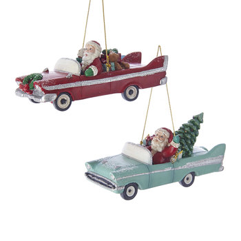 Santa Retro Car Tree Decorations - Set of 2