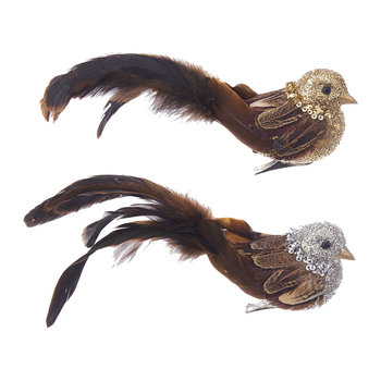 Feather Chickadee Tree Decorations - Set of 2