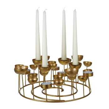 Medusa Round Candle Holder - Gold