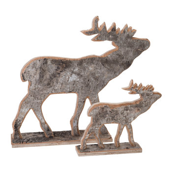 Selva Birchwood Deer Ornament - Set of 2