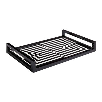 Op Art Lacquered Tray - Black/ White - 45x30cm
