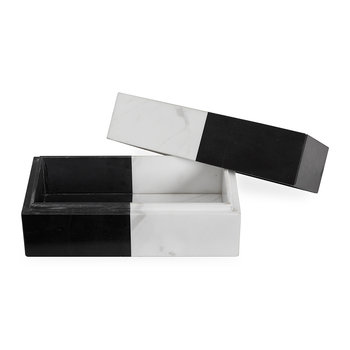 Canaan Rectangular Box - Marble - Black/White