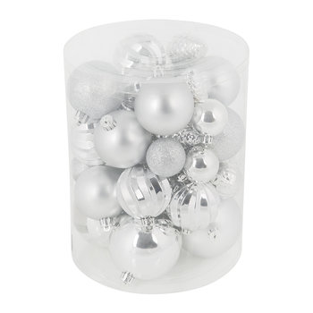 Set of 34 Assorted Baubles - Silver