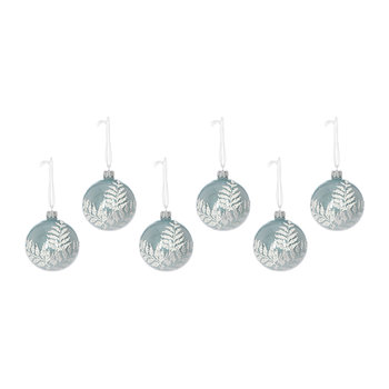 Deco Bauble With Fern Leaf - Blue Mist - Set of 6