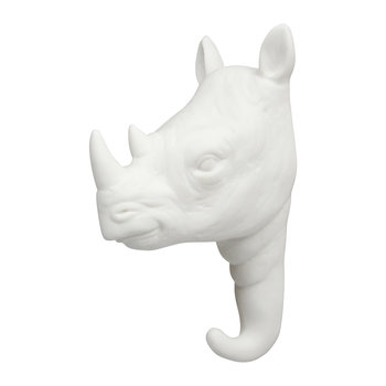 Rhino Wall Hook - Porcelain - White