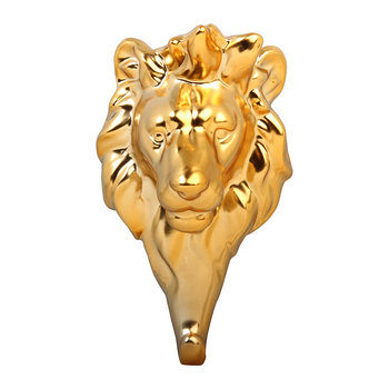 Lion Head Wall Hook - Porcelain - Gold