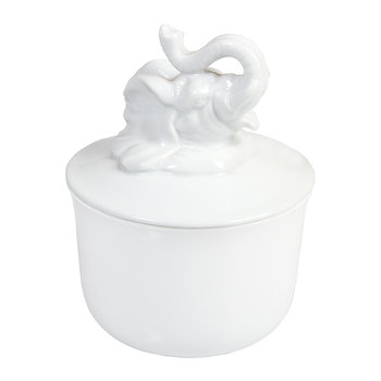 Lidded Porcelain Animal Bowl - White - Elephant
