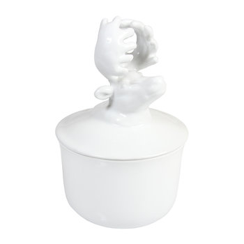 Lidded Porcelain Animal Bowl - White - Deer