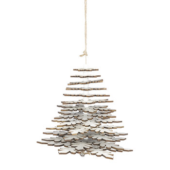 Hanging Tree Ornament - White/Silver