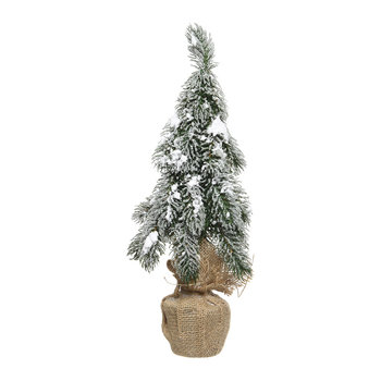 Snowy Mini Decorative Tree in Jute Bag
