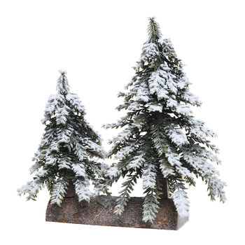 Snowy Mini Decorative Trees - Set of 2
