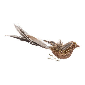 Feather Fly Bird Clip Ornament - Brown