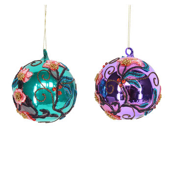 Assorted Embroidered Flowers Baubles - Set of 2