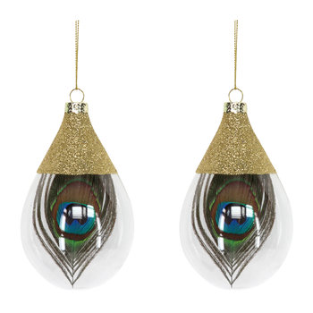 Teardrop Baubles with Peacock Feather - Set of 2