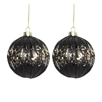 Ribbed Matt Black Baubles - Set of 2