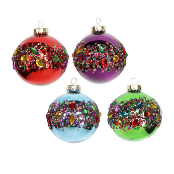 Assorted Multi Jeweled Baubles - Set of 4