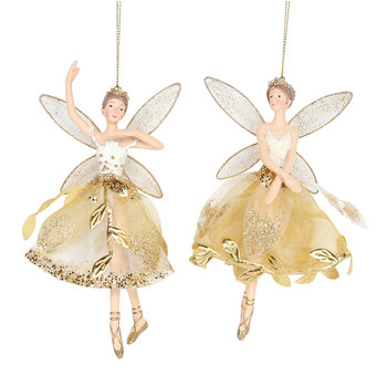 Gold Leaf Fairy Tree Decorations - Set of 2