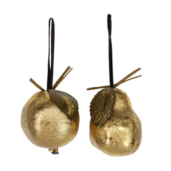 Pear and Pomegranate Tree Decorations - Set of 2 - Antique Gold