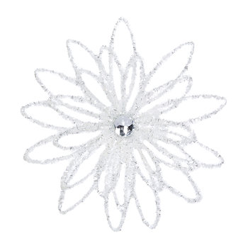 Tinsel Flower Clip Christmas Tree Decorations - Set of 2 - Iridescent