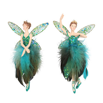 Peacock Feather Fairy Tree Decorations - Set of 2
