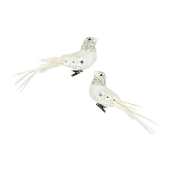 White Embroidered Bird Clip Christmas Tree Decorations - Set of 2