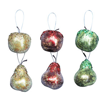 Assorted Beaded Fruit Tree Decorations - Set of 6