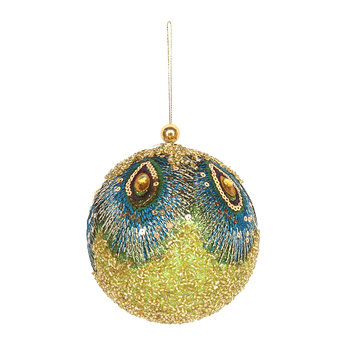 Beaded Fabric Peacock Bauble