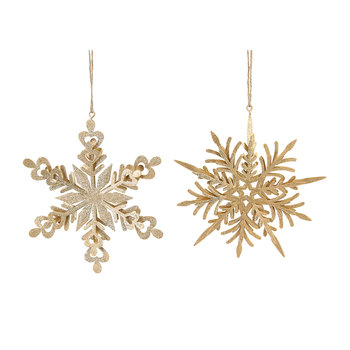 Gold Snowflake Tree Decorations - Set of 2