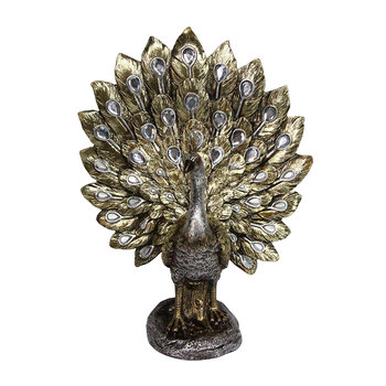 Metallic Fantail Peacock Decorative Ornament