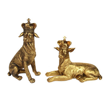 Gold Dog with Crown Ornament - Set of 2