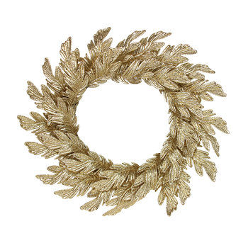 Gold Glittered Oak Leaf Wreath