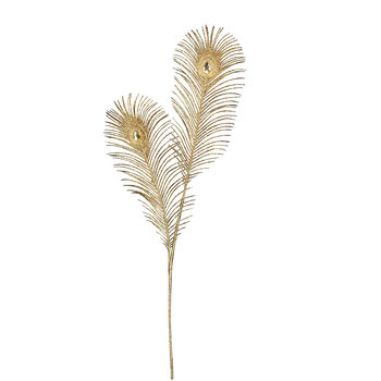 Gold Glitter Peacock Feather Artificial Stem